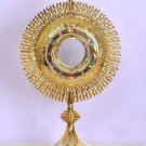 "Catholic Church Monstrance 24 Karat Gold Plated 19"" High with 3"" Luna Lovely"