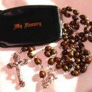 "Dark Brown Wood Rosary with Black Vinyl Zip Rosary Case 23"" Inch 8MM Beads"