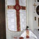 White Chasuble Set Fiddleback Vestment Latin Mass NEW+Maniple,Stole,Veil,Burse