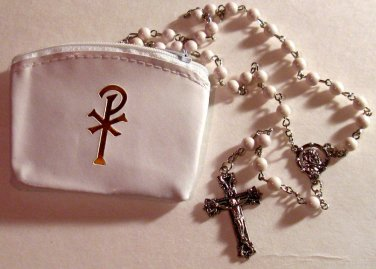 """First Communion Rosary Set, White 19.5"""" Rosary and Pax White Vinyl Rosary Case"""