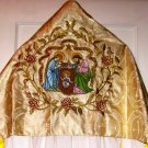 Vintage Style Christmas Vestment Humeral Veil Gold Damask Fabric Embroidered