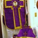Purple Chalice Chasuble Set Vestment Fiddleback 5 Pcs + Maniple,Stole,Veil,Burse