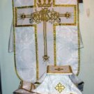 White Fiddleback Chasuble Fancy Embroidery Vestment Set+Veil,Maniple,Stole,Burse