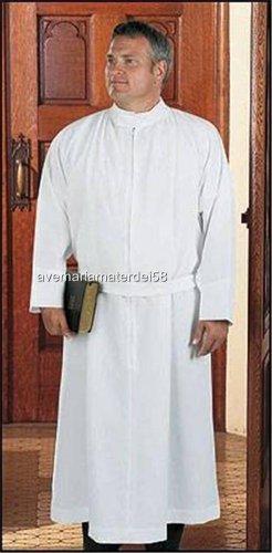 "Catholic Alb Self-Fitting 30"" Zipper Closure Velcro Neck Med. Weight S,M,L,X-LG"