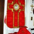 Red Fiddleback Chasuble Vestment Set Maniple, Stole, Chalice Veil, Burse NEW