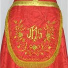 Red Cope Vestment with Stole Gold Embroidery Satin Lined Traditional Catholic