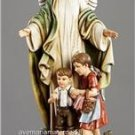 """Guardian Angel Statue  Size:  13.125"""" High Resin Boxed Hand Painted Italy"""