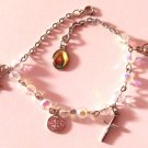 Glass Clear Aurora Borealis Rosary Bracelet with Charms Sacred Heart of Jesus
