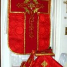 Red Chasuble Vestment Fiddleback 5 Piece Latin Mass NEW Gold Orphrey Embroidery