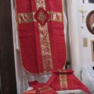Red Chasuble Set Fiddleback Vestment Latin Mass NEW + Maniple,Stole,Veil, Burse