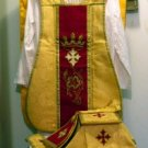 Gold Fiddleback Chasuble w/Maroon Orphrey Vestment Set+Veil,Maniple,Stole,Burse