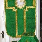 Chasuble Set Green Fiddleback Agnus Dei Vestment + Veil, Burse, Maniple, Stole