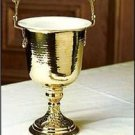 "Catholic Holy Water Pot Polished Brass 14""H x 6""D with Sprinkler 10.5""L"