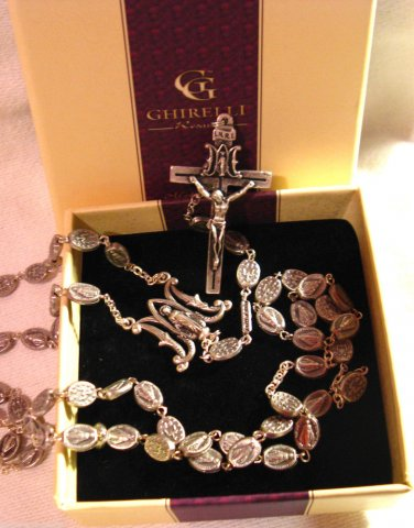 """Miraculous Medal Silver Oxidized Rosary by Ghirelli Gift Boxed 22.5"""" Long"""