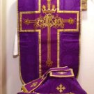 Violet Fiddleback Chasuble with Embroidery Vestment Set+Veil,Maniple,Stole,Burse