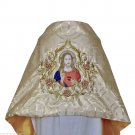 Sacred Heart Jesus Humeral Veil in Gold Brocade with Roses Design Embroidered