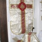 Gold Brocade Fiddleback Chasuble Vestment Set + Stole, Maniple, Veil, Burse