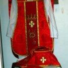 Red Fiddleback Chasuble Fancy Embroidery Vestment Set+Veil,Maniple,Stole,Burse