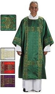 Purple Deacon Dalmatic Gold Banding in Jacquard and Lined in Satin with Stole