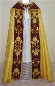 Gold Cope Vestment Satin Lined Traditional Catholic Embroidered+Humeral Veil
