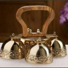 """Sanctuary Altar Bells Four Bells Brass and Wood 6.25""""W x 4.75""""H"""