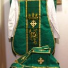 Chasuble Set Green Fiddleback Vestment Embroidered +Veil,Maniple,Stole,Burse