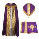 Purple Cope Vestment Satin Lined Traditional Catholic + Embroidered Humeral Veil