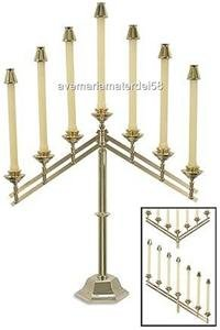 "Catholic Altar Candelabra Brass Adjustable Seven 7/8"" Sockets 26""W x 22""H x 6.5"""