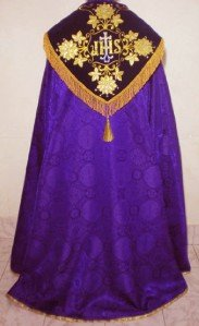 Purple Cope Vestment Satin Lined Traditional Catholic Embroidered+Humeral Veil