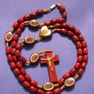 Brown Rosary Wood O.L. Guadalupe 19 In w/Clasp Catholic