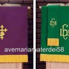 """Catholic Vestment Reversible Pulpit Scarf Purple/Green 18""""x36"""" Embroidered Lined"""