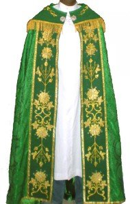 Green Cope Vestment Satin Lined Traditional Catholic Embroidered+Humeral Veil