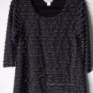 Christopher Banks Women's Medium Black Ruffled Blouse Top 3/4 Sleeve Pullover