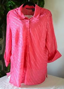 Club Z Womens Plus Size Pink Button Up Top Shirt Blouse w/ Cami, 3/4 Sleeve 2X