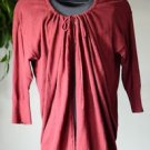Eddie Bauer Women's Cotton Blend Sweater Size XL Maroon 3/4 Sleeve