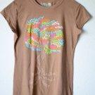 Live Life Green Medium Women's Graphic T Shirt Top 100% Cotton Brown