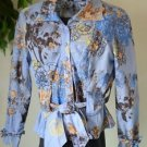 Women's Blue Brown Floral Blouse Small Belted Button Up Long Sleeve Raised Print