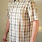 Men's David Taylor White & Brown Plaid M Short Sleeve Button up Shirt w/ Collar