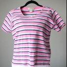Eddie Bauer Pink, White & Blue Striped Short Sleeve Shirt Cotton Medium