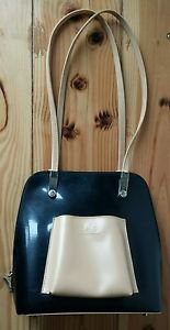 Beijo Black & Tan Backpack Purse Handbag EUC