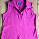 Women's Karen Scott M Medium Pink Sleeveless Shirt w Collar Cotton Spandex Blend