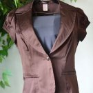 Von Mozart Women's Brown Top Fitted Vest Button Front Short Sleeve Sateen Medium