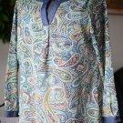 Liz Claiborne EUC Women's Medium Long Sleeved Pullover Blouse Top Paisley V Neck