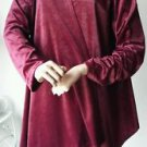 Samantha's Velvety Polyester Open Front Tunic Length Jacket Red Long Sleeve M