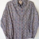 Woolrich Button Up Shirt Blouse Womens Large Geometric Cotton Long Sleeve Collar