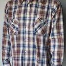 Levi's Movin On Men's XL Shirt Plaid Blue Brown White Button Front Long Sleeve