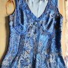 A.N.A Women's, S, Blue & Brown Sleeveless Tank Blouse, Side Zipper, Fully Lined