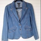 For Joseph Women Large 2 Button Denim Jean Jacket Blazer Coat Long Sleeve Cotton