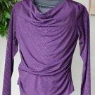 AGB Women's Large Long Sleeved Drape Neck Purple Sparkle Top Blouse EUC Made USA