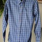 Knightsbridge Men's Small Blue Plaid Button Up Long Sleeved Cotton Blend Shirt S